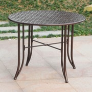 Darby Home Co Doric Iron 39'' Round Patio Dining Table; Bronze