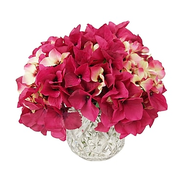 Darby Home Co Cylinder Hydrangea Bouquet Crystal Vase; Magenta Red