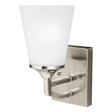 Darby Home Co Elkton 1-Light Wall Bath Sconce; Brushed Nickel