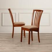Charlton Home Peru Side Chair w/ Cushion (Set of 2); Oak