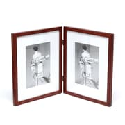 Charlton Home Saunterton Contemporary Hinged Double Picture Frame; Walnut Brown Matted