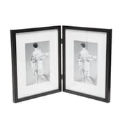 Charlton Home Saunterton Contemporary Hinged Double Picture Frame; Black Matted