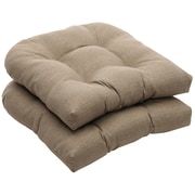 Charlton Home Tadley Outdoor Dining Chair Cushion (Set of 2); Taupe Textured Solid