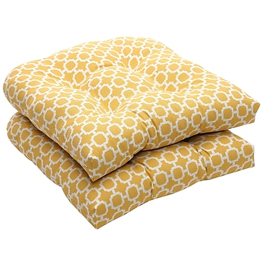 Charlton Home Tadley Outdoor Dining Chair Cushion (Set of 2); Yellow / White Geometric