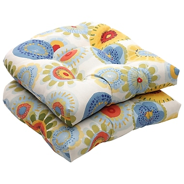 Charlton Home Tadley Outdoor Dining Chair Cushion (Set of 2); Multicolored Floral