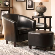 Charlton Home Calville Barrel Chair and Ottoman; Brown