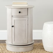 Charlton Home Brownsburg Swivel Oval 1 Drawer Cabinet; Vintage Grey