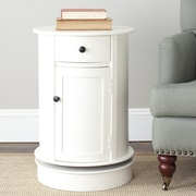 Charlton Home Brownsburg Swivel Oval 1 Drawer Cabinet; Distressed Cream