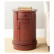 Charlton Home Brownsburg Swivel Oval 1 Drawer Cabinet; Red