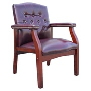 Charlton Home Berry Hill Leather Arm Chair; Oxblood
