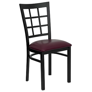 Charlton Home Mapilton Window Back Side Chair; Burgundy Vinyl