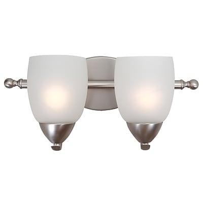 Charlton Home Monrovia 2-Light Vanity Light; Brushed Nickel