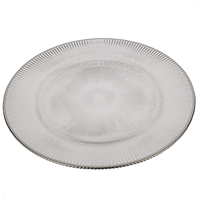 Charlton Home Glass Charger Rim Plate; Silver