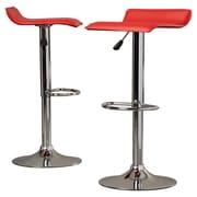 Charlton Home Apple Valley Adjustable Height Swivel Bar Stool (Set of 2); Red
