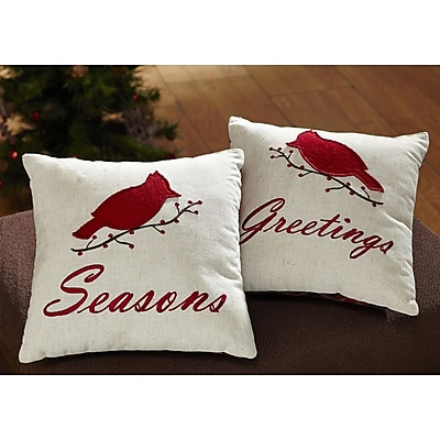 Charlton Home Seasons Greetings 2 Piece Cotton Throw Pillow Set (Set of 2)
