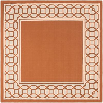 Charlton Home Osage Rust Indoor/Outdoor Area Rug; Square 7'10''