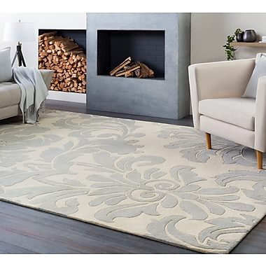 Charlton Home Millwood Hand-Tufted Cream/Gray Area Rug; Square 8'