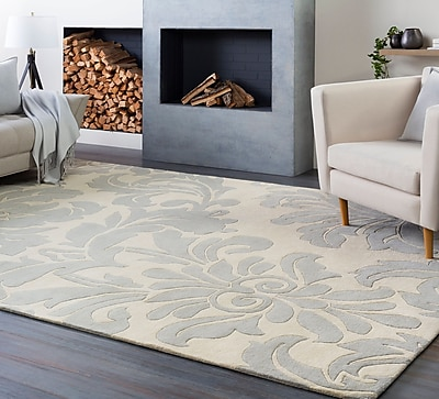 Charlton Home Millwood Hand-Tufted Cream/Gray Area Rug; Oval 6' x 9'