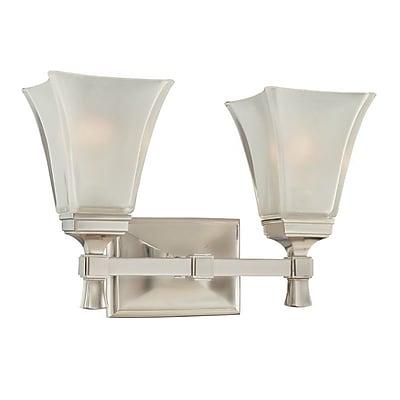 Charlton Home Bader 2-Light Vanity Light; Satin Nickel
