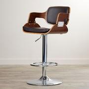 Corrigan Studio Adjustable Height Swivel Bar Stool; Walnut/Brown