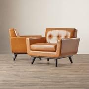 Corrigan Studio Saginaw Leather Arm Chair (Set of 2)