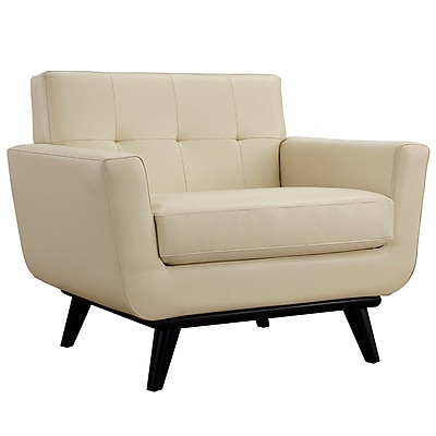 Corrigan Studio Saginaw Leather Arm Chair; Beige