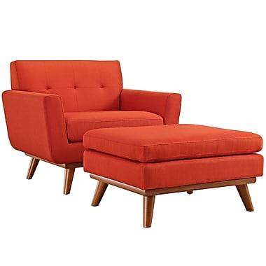 Corrigan Studio Saginaw Arm Chair and Ottoman; Atomic Red