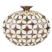 Corrigan Studio Gloss Gold/White Embossed Table Vase
