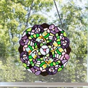 River of Goods Tiffany Style Stained Glass Pansy Window Panel