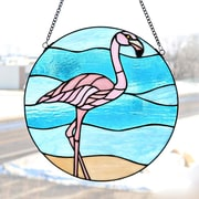 River of Goods Stained Glass Fabulous Flamingo Window Panel