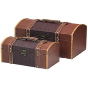 Vintiquewise Leather Designer Decorative 2 Piece Storage Trunk Set