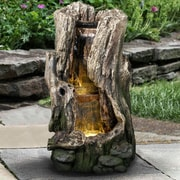 Hi-Line Gift Ltd. Resin Tree Trunk Waterfall Fountain w/ LED Light