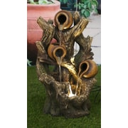 Hi-Line Gift Ltd. Resin Pouring Jugs on Tree Trunk Fountain w/ LED Light