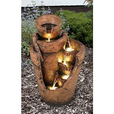 Hi-Line Gift Ltd. Resin Multi Level Cut Away Planter Fountain w/ LED Light