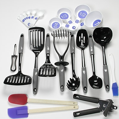 Chef Craft 23 Piece Nylon Select Kitchen Tool and Gadget Utensil Set; Gray WYF078280127002
