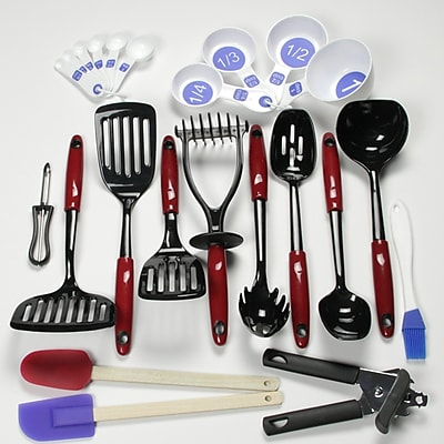 Chef Craft 23 Piece Nylon Select Kitchen Tool and Gadget Utensil Set; Red WYF078280127003