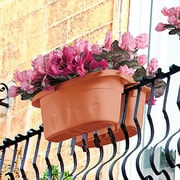 ApolloExportsInternationalInc. Double Sided Adjustable Polyresin Rail Planter; Terra Cotta