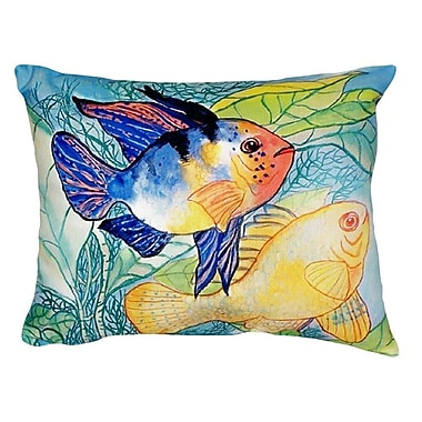 Betsy Drake Interiors Two Fish Indoor/Outdoor Throw Pillow