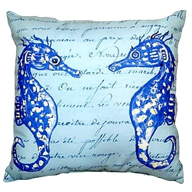Betsy Drake Interiors Sea Horses Indoor/Outdoor Throw Pillow