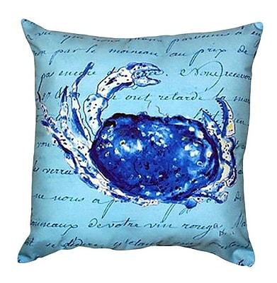 Betsy Drake Interiors Script Crab Indoor/Outdoor Throw Pillow