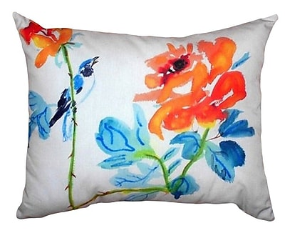 Betsy Drake Interiors Bird & Roses Indoor/Outdoor Lumbar Pillow