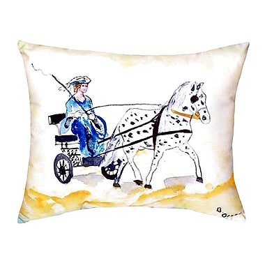 Betsy Drake Interiors Carriage and Horse Indoor/Outdoor Lumbar Pillow