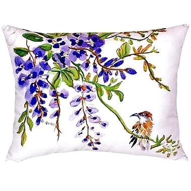 Betsy Drake Interiors Wisteria and Bird Indoor/Outdoor Lumbar Pillow