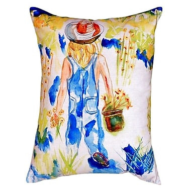 Betsy Drake Interiors Garden Girl Indoor/Outdoor Lumbar Pillow