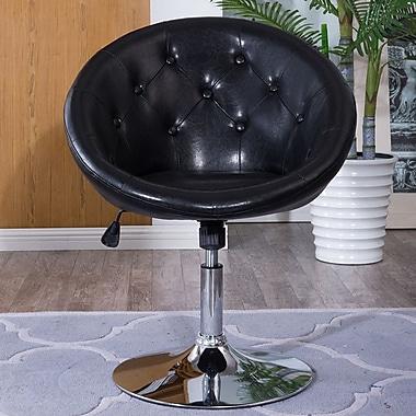 Belleze Round Back Swivel Tilt Barrel Chair; Black