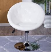 Belleze Round Back Swivel Tilt Barrel Chair; White