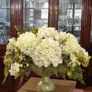 Floral Home Decor Silk Hydrangea Centerpiece in Bowl