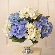 Floral Home Decor Silk Hydrangea Floral Arrangement in Bowl