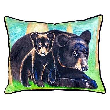 Betsy Drake Interiors Bear and Cub Indoor/Outdoor Lumbar Pillow; Large