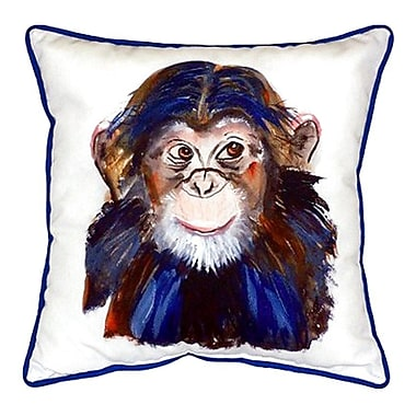 Betsy Drake Interiors Chimpanzee Indoor/Outdoor Throw Pillow; Small